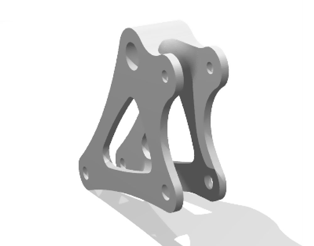 Render of bellcrank to be produced with Xometry