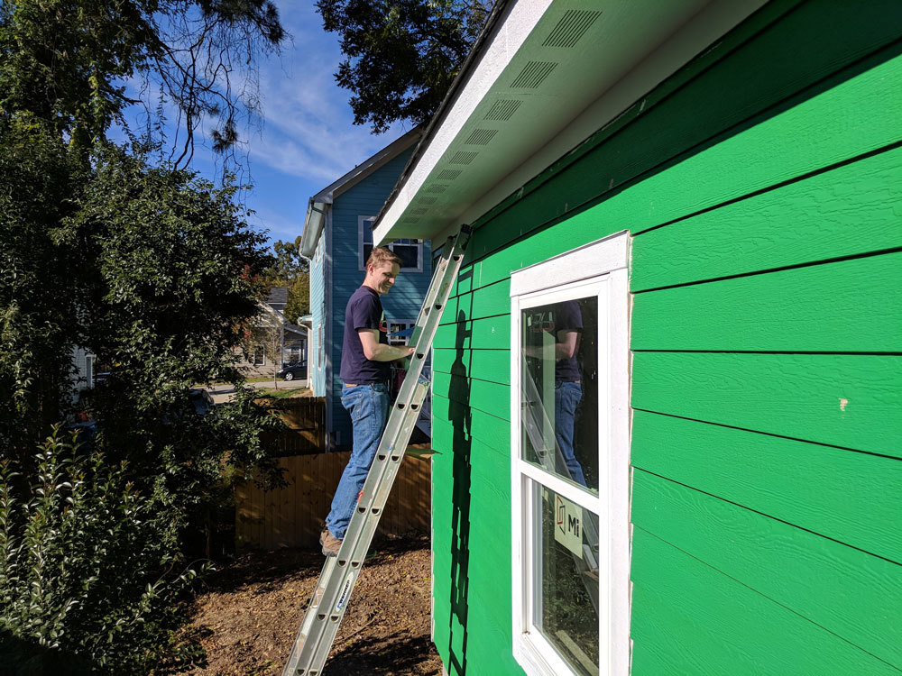Xometry employee volunteering for Habitat for Humanity Durham, NC