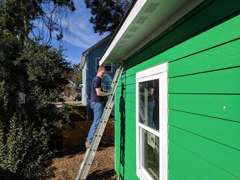 Xometry employee volunteering for Habitat for Humanity Durham, NC