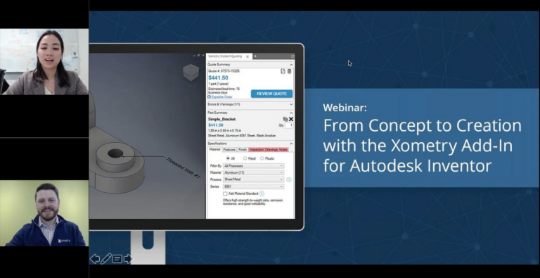 On-Demand Webinar: the Xometry Add-In for Autodesk Inventor