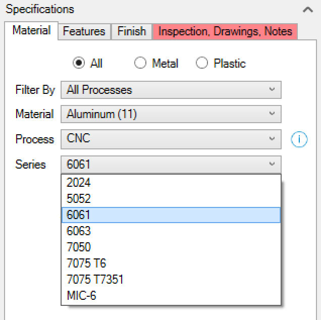 Xometry Instant Quoting Engine Add-In for Autodesk Inventor - Material Tab with Series Drop-Down Open