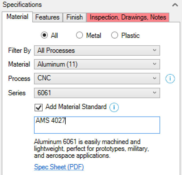 Xometry Instant Quoting Engine Add-In for SOLIDWORKS - Material Tab with Add Material Standard Checked and AMS 4027 Entered