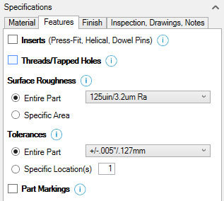 Xometry Instant Quoting Engine Add-In for Autodesk Inventor - Features Tab