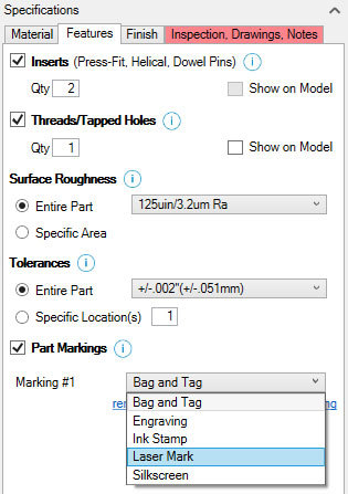 Xometry Instant Quoting Engine Add-In for SOLIDWORKS - Features Tab with Inserts, Threads/Tapped Holes, and Part Markings Checked, Marking #1 Drop-Down Open