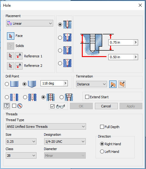 Xometry Instant Quoting Engine Add-In for Autodesk Inventor - Hole Feature Window
