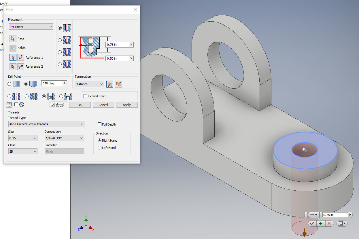 Xometry Instant Quoting Engine Add-In for Autodesk Inventor - Hole Feature Window Over Simple Bracket Part Model