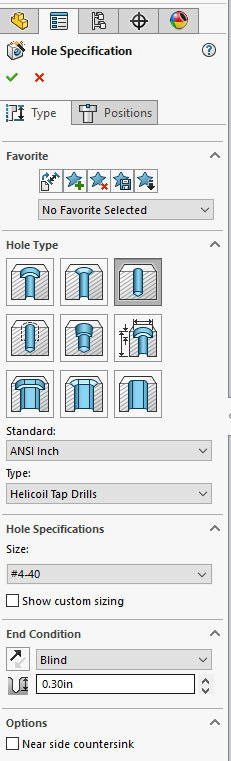Xometry Instant Quoting Engine Add-In for SOLIDWORKS - HoleWizard with Hole Type: Hole, Standard: ANSI Inch, Type: Helicoil Tap Drills, and Size: #4-40