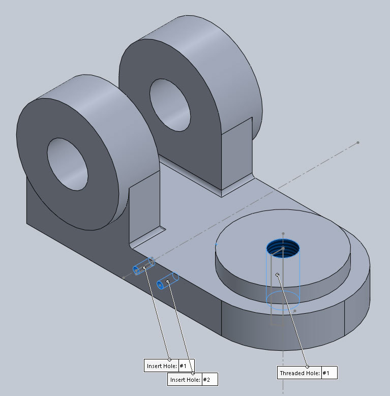 Xometry Instant Quoting Engine Add-In for SOLIDWORKS - Simple Bracket Model with Threaded/Tapped Holes Applied