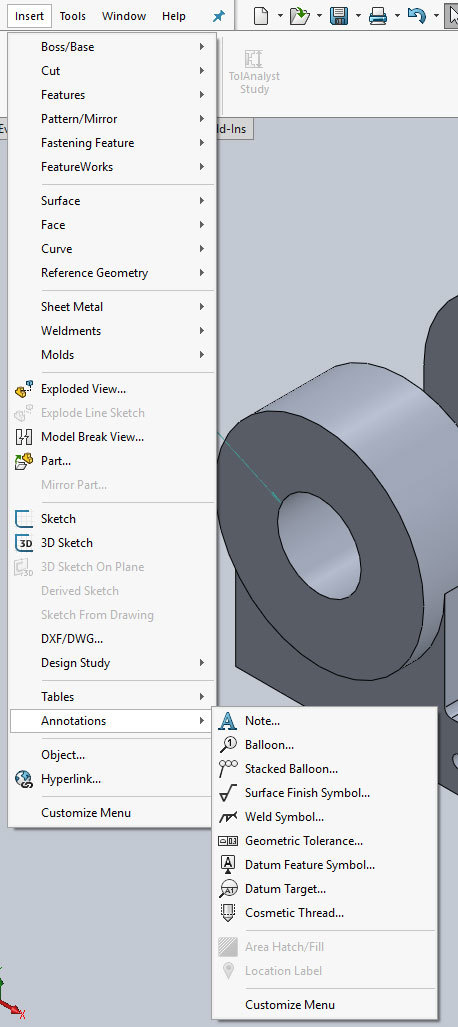Xometry Instant Quoting Engine Add-In for SOLIDWORKS - Insert Menu Open with Annotations Sub-Menu Hightlighted