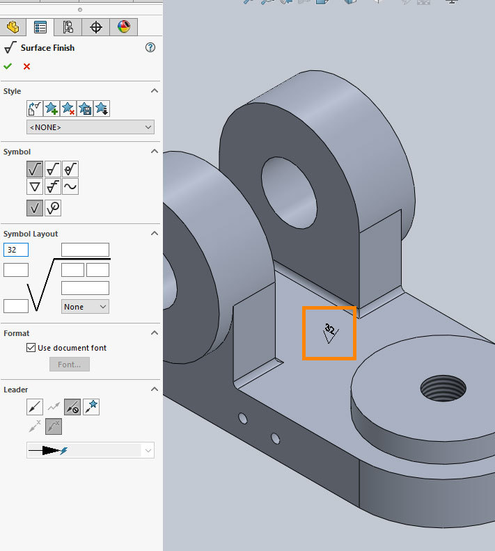 Xometry Instant Quoting Engine Add-In for SOLIDWORKS - Positioning Surface Roughness Annotation on Simple Bracket Model