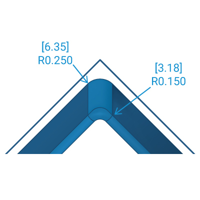 Rounded Internal Corners ≤ 3:1