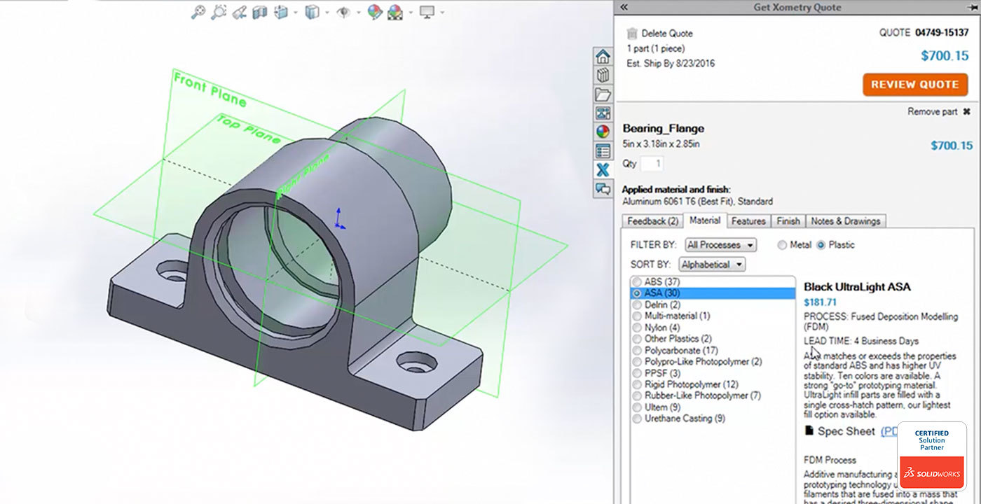 Xometry Solidworks plug-in