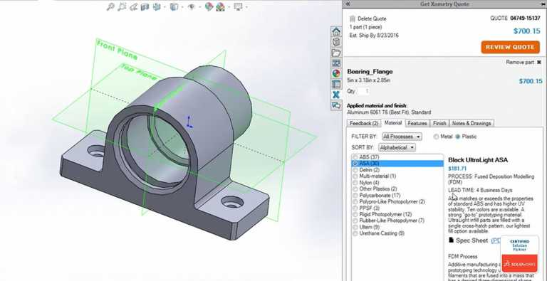 Getting Started with the Xometry Instant Quoting Engine℠ Add-In for SOLIDWORKS