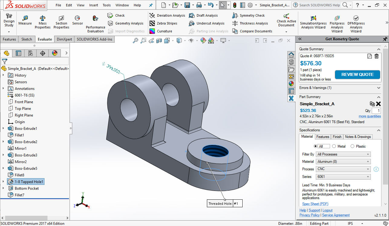 Xometry Instant Quoting Add-In for SOLIDWORKS