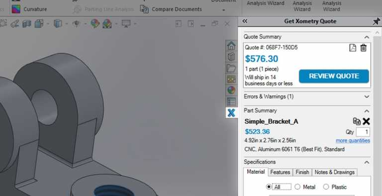 Faster than ever Xometry Add-In for SOLIDWORKS!