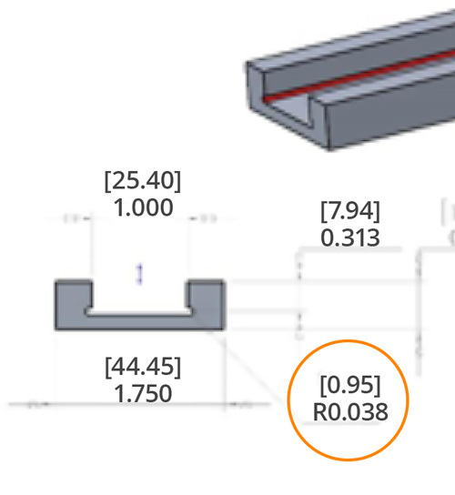 Diagram of undercut that requires custom tooling